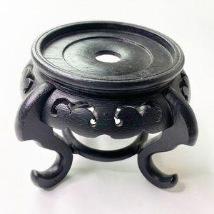 Vintage Black Wooden Candle Holder Asian Pedestal
